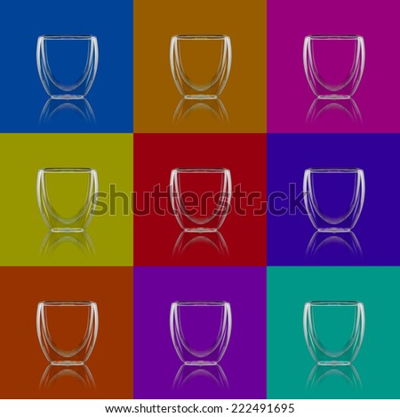 Glass espresso cups with different backgrounds - stock photo