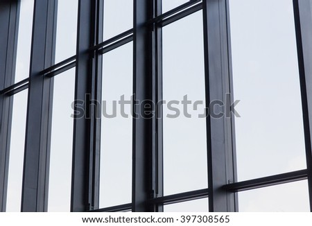 glass facade from the inside