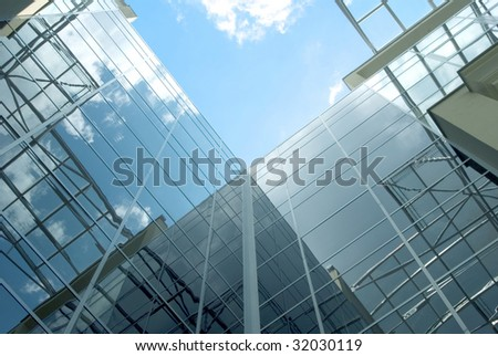 Glass facade of the business building