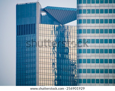 Glass facades of skyscrapers in Frankfurt,. Germany - stock photo