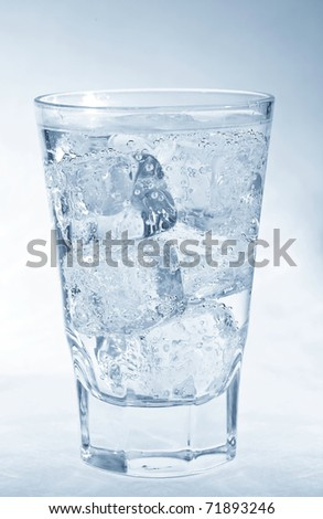 Glass filled with fresh water and ice - stock photo
