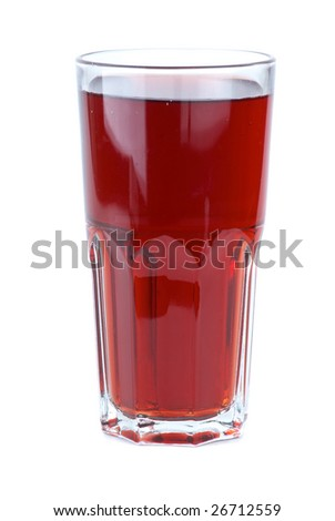 Glass filled with red pomegranate juice isolated on the white background