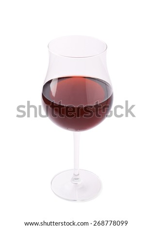 Glass filled with the red wine isolated over the white background - stock photo