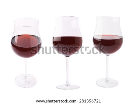 Glass filled with the red wine isolated over the white background, set of three different foreshortenings - stock photo