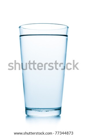 glass filled with water on white background - stock photo