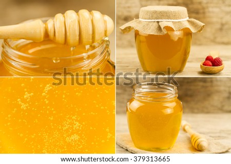 glass flower honey jar with spoon on wooden background. Collage - stock photo