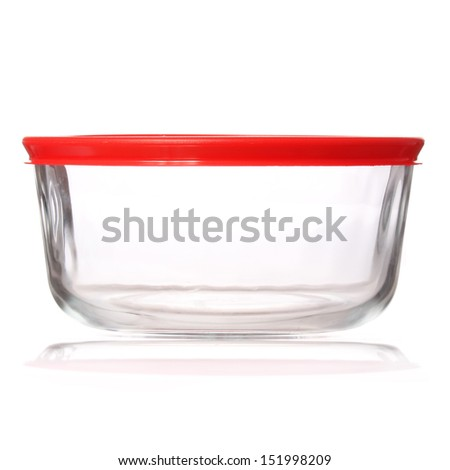glass food container with red plastic lid isolated on white background - stock photo