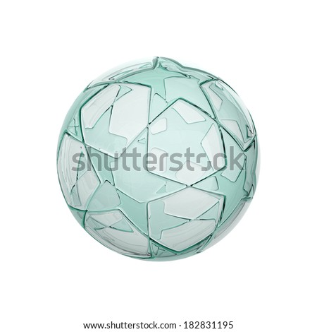glass football - soccer ball with star pattern isolated on white - stock photo