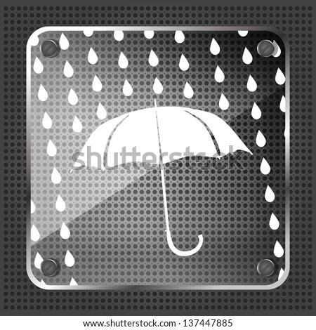 Glass forecast icon on a metallic background - stock photo