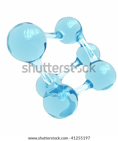 glass formed into the shape if a molecule isolated on white - stock photo