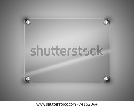 Glass frame on the wall - stock photo