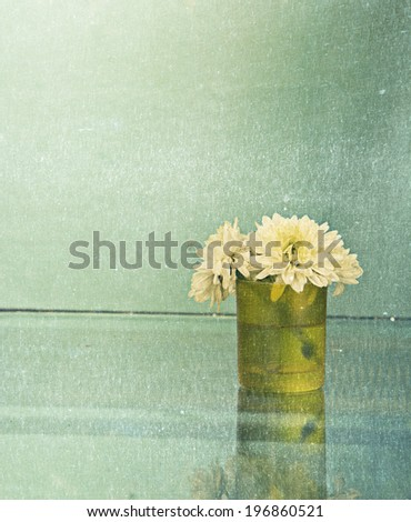 Glass fresh chamomile flowers is on reflection table and blue wall background - stock photo