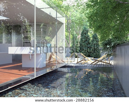 Glass-fronted bathroom overlooking an artificial pond and deck (3D render)