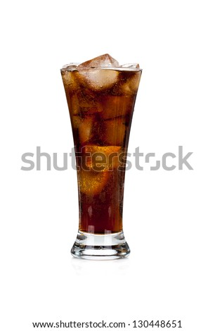 Glass full of cola and ice isolated on white background - stock photo