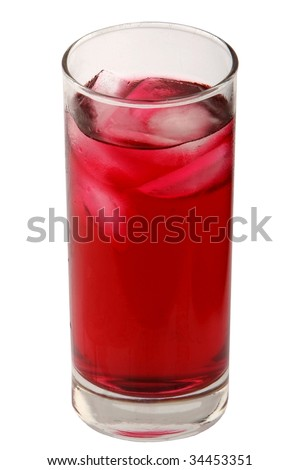 Glass full with red berry juice isolated on white - stock photo