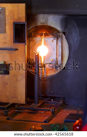 Glass furnace - stock photo