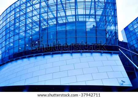 glass futuristic wall of business center