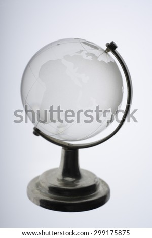 Glass globe against white background,close up