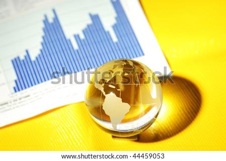 glass globe and international stock markets - stock photo