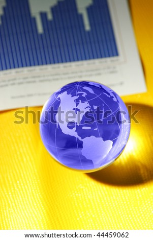 glass globe and international stock markets - stock photo