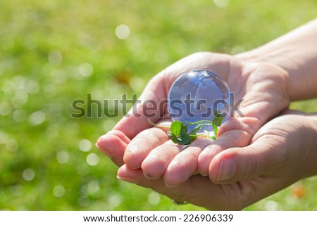 Glass globe in hand  in the grass concept for environment protection - stock photo