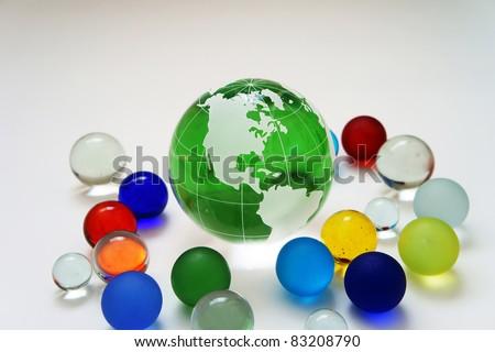 glass globe on green - stock photo
