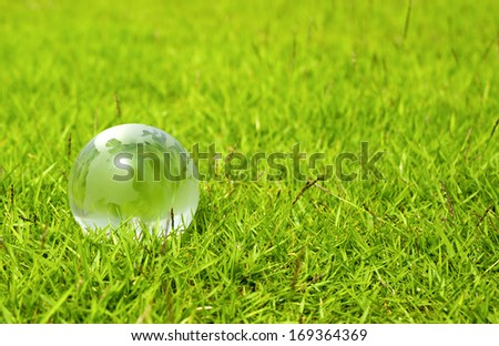 Glass globe on green grass. An environmental concept  - stock photo