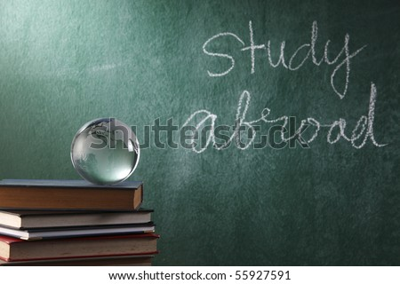 glass globe on the book - stock photo