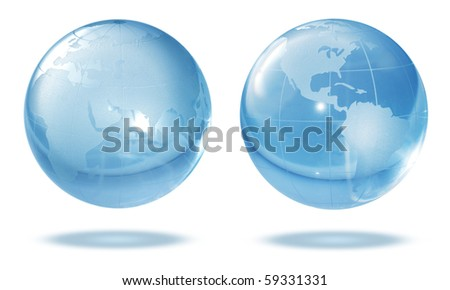 Glass globe on white background