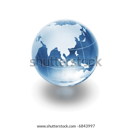 glass globe on white background - stock photo