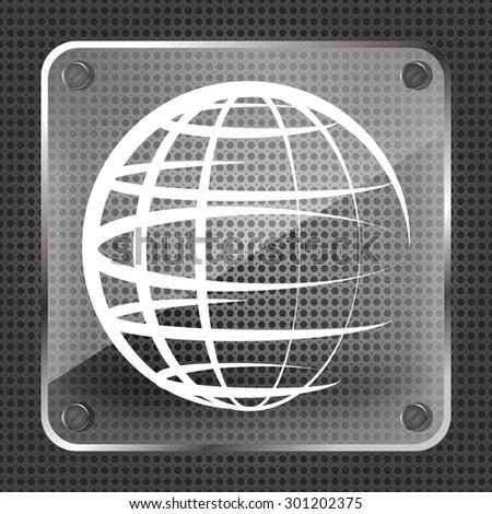 Glass globe planet icon on a metallic background - stock photo