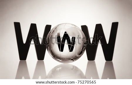 Glass globe with three wooden black W alphabetic characters symbolizing the internet isolated on blank background. - stock photo