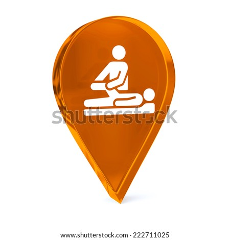 Glass GPS marker icon with white health care sign or symbol - stock photo