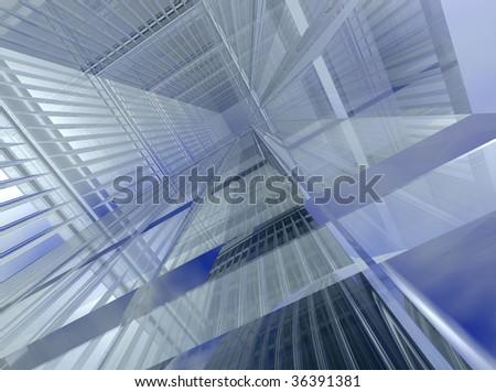 Glass halls or corridors - stock photo