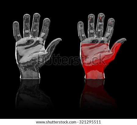 Glass hand / 3D render of glass hand empty and half filled with red liquid, easy to colorize - stock photo