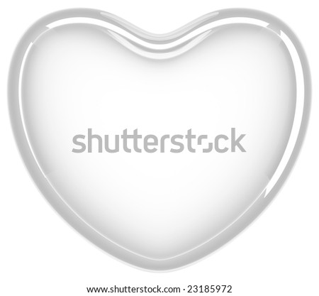 Glass heart on white background - stock photo