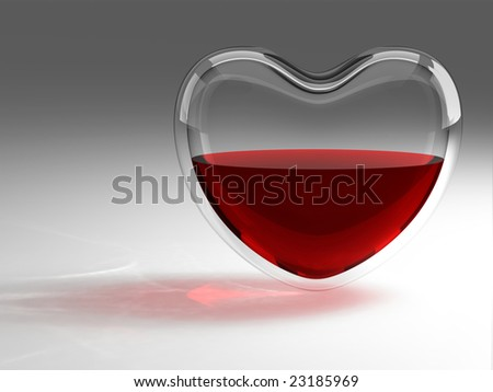 Glass heart with blood - stock photo