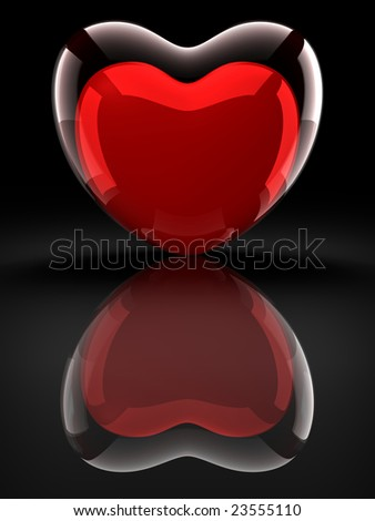 Glass heart with red heart on black background - stock photo