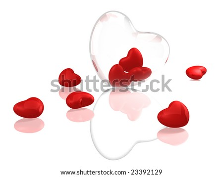 Glass heart with red hearts on white background - stock photo
