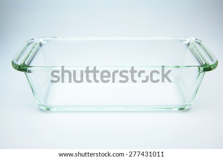 Glass heat resistant oven tray or Glass Oven Dish, Baking Tray,  - stock photo