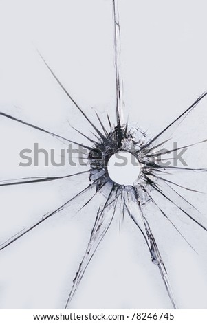 Glass  hole  broken   shot - stock photo