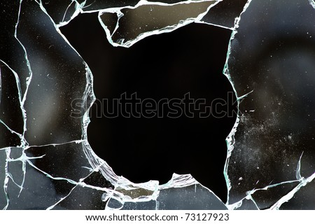 Glass  hole  cracks   splinters - stock photo