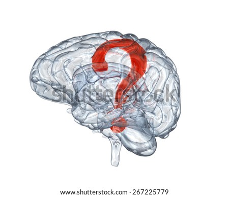 Glass human brain with question mark within