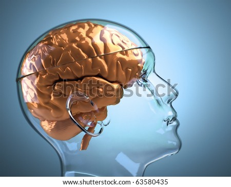 Glass human head with brain - this is a 3d render illustration - stock photo
