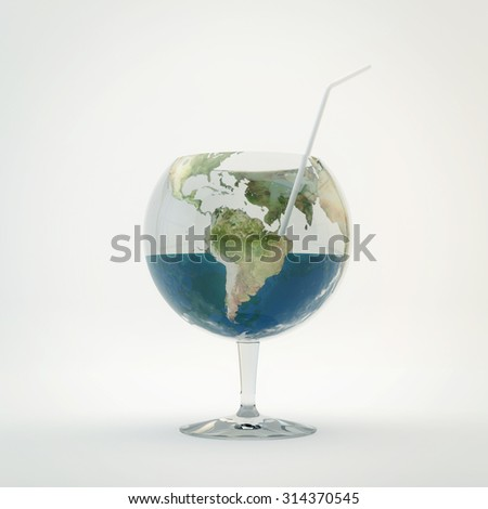 Glass in  form of planet earth. - stock photo