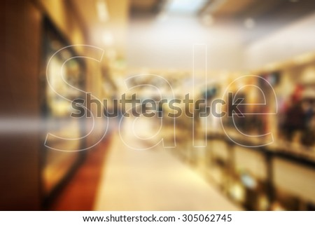 glass in shop and sale mark  - stock photo
