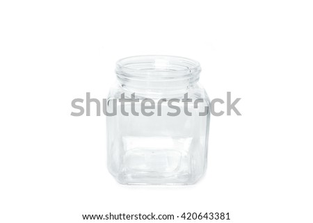 glass jar empty on white background