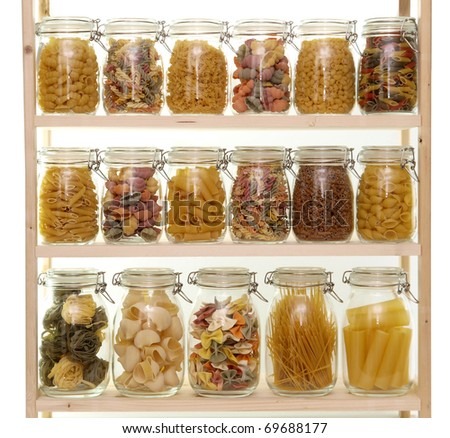 Glass jar filled with various pasta