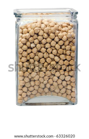 Glass jar full of chickpeas isolated on white