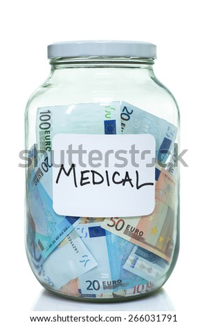 Glass jar full of Euro with a label that says medical - stock photo